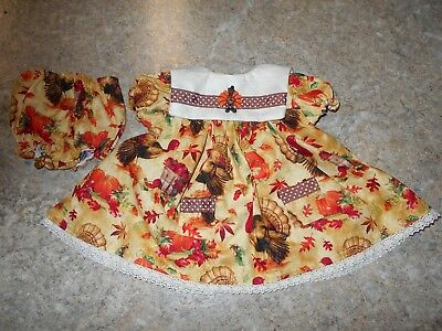 "Vintage Chatty Cathy 18-20"" New Handmade W/love 2 Pc Turkeys & Pumpkins Outfit"