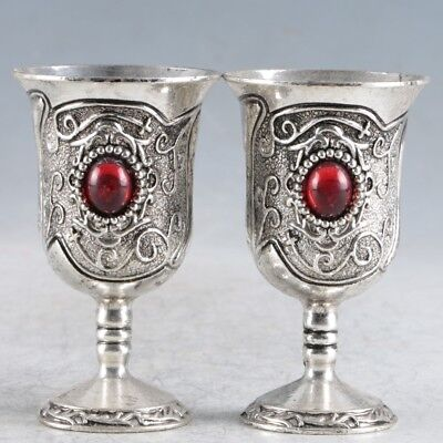 A Pair Of Chinese  Exquisite Silver Handmade  Cup RY060.a