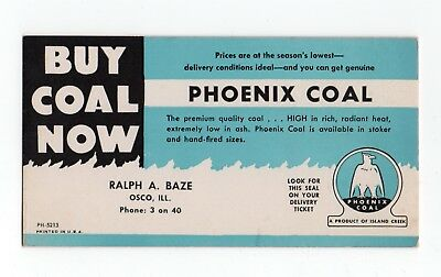 "PHOENIX COAL Ink Blotter - 3⅜""x6¼"", Osco IL, Product of Island Creek, Great Cond"