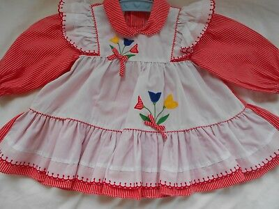 Vintage Baby Dress Cradle Togs Pinafore 1 pc. Ruffles Applique for baby or Dolls