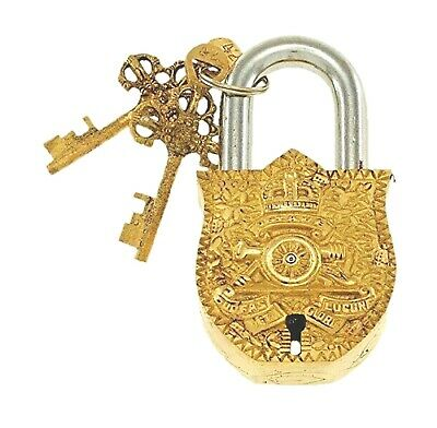 Coat of Arms Design Old Vintage Antique Finish Handmade Brass padlock and Keys