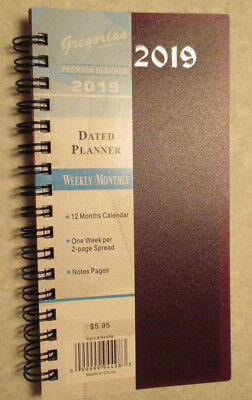 2019 PLANNER WEEKLY MONTHLY 12TABS ORGANIZER TWIN WIRE CLEAR COVER POCKETS 8x10/""