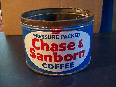 Vintage Chase & Sanborn Coffee 1Lb Metal Can No Lid Good Condition