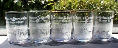 5-Los Angeles Brewing Co.  Mission Malt-Tonic Antique Etched Beer Glasses, Cal.