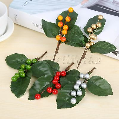 Foam Silk Wedding Berries Branch Flower Leaves Decoration Artificial Berry 5Pcs
