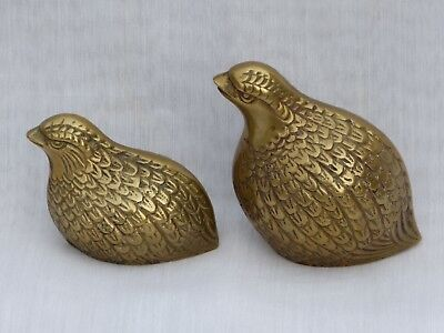 Matched Set of 2 Brass Figural Quail, Bird Decorative Paperweights, Textured