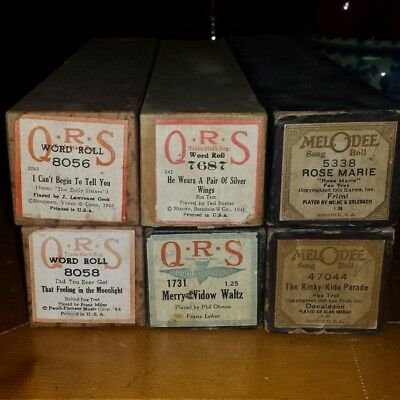 Lot of 6 Vintage Player Piano Rolls QRS Melodie
