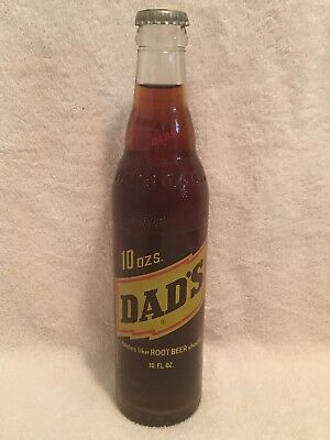 FULL 10oz DAD'S ROOT BEER RED AND YELLOW ACL SODA BOTTLE CHICAGO, ILLINOIS