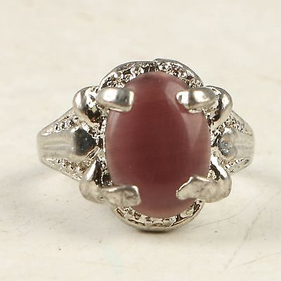 Chinese Exquisite Tibet Silver Inlay Cat's-eye Stone Carved Ring CC1307