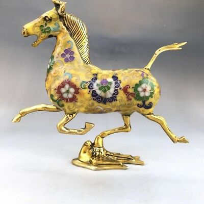 China can collect old cloisonne hand carved statues of horses and swallows
