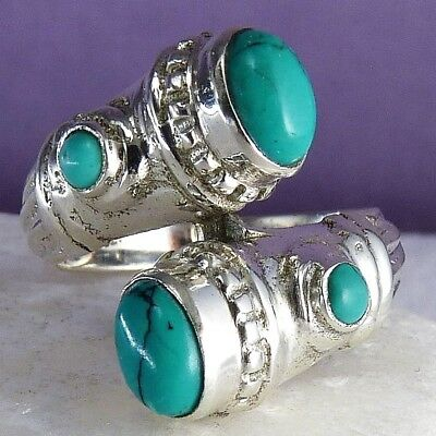 QUAD Gemstone Ring Size US 6.5 SILVERSARI Solid 925 Sterling Silver TURQUOISE