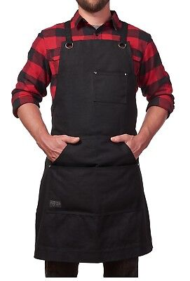 Heavy Duty Work Apron with Tool Pockets Cross-Back Straps Adjustable M to XXL