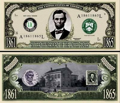 16th President Abraham Lincoln Million Dollar Funny Money Novelty Note + SLEEVE