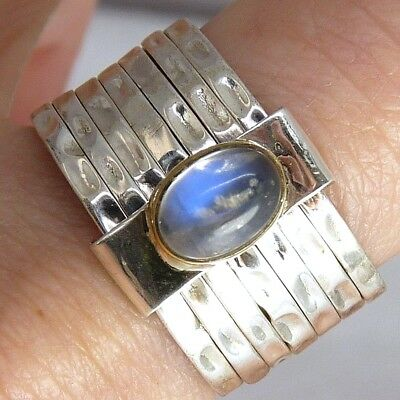 7-STACK + Gem Sz US 6.75 SILVERSARI Ring Solid 925 Stg Silver MOONSTONE STR1009