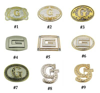 Initial G Belt Buckle Letter G  alphabet G Western Cowboy cowgirl rodeo Men Big