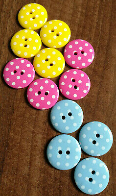 Novelty polka dot round buttons in various colours size 23mm / 36l / 15/16""