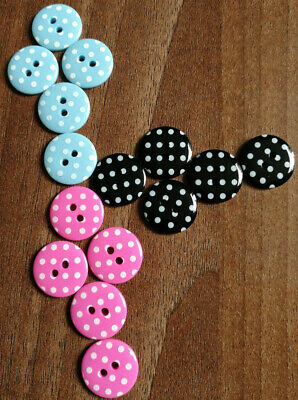Novelty polka dot round buttons in various colours size 18mm / 28L / 11/16""