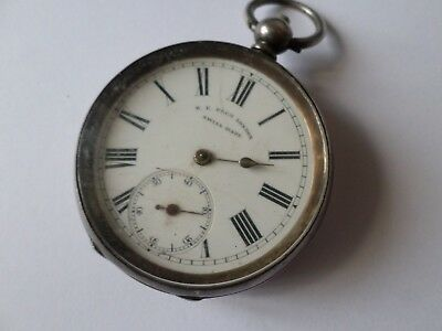Antique 19th century HE Peck 935 sterling silver pocket watch FOR REPAIR