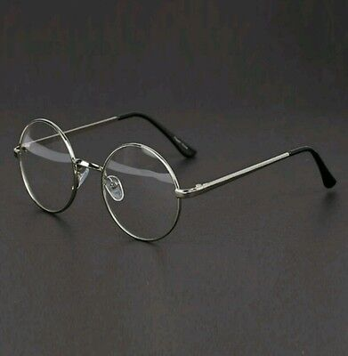 Fashion Retro Unisex Women Men Metal Frame Round Clear Lens Glasses Nerd Spec