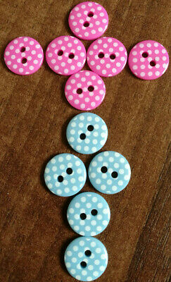 "Polka dot round buttons in various colours size 12mm / 20L / 1/2"" Novelty / Baby"