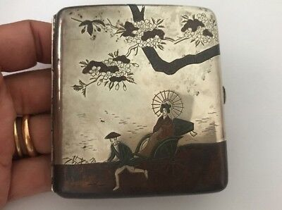 Antique Japanese Engraved Silver Cigarette Case - Cherry Blossom Signed