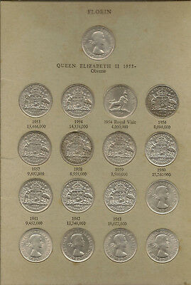 1953 to 1963 Australian Silver Florin Set Complete With 1954 Comm Plus extras