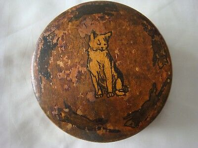Antique circular wooden box cat and mice