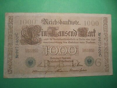 Antique 1000 Mark German Banknote 21/4/1910 108 Years Old Green Seal.