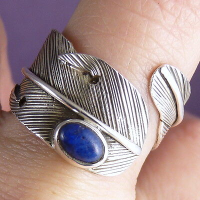 FEATHER WRAP US 4-9 Adjust. SilverSari Ring Solid 925 Stg Silver + LAPIS LAZULI