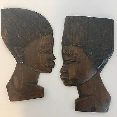 African Carved Wood Art Side Profile of Man and Woman Beautiful