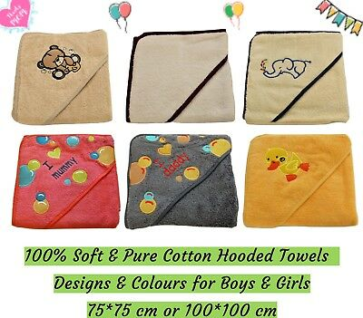 100% cotton Baby Hooded Towel Colour for Boys Girls Unisex Infant 0 - 4 years