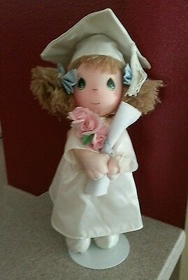 """Vintage Graduation Doll Precious Moments 16"""" tall Girl Cap & Gown on stand"""