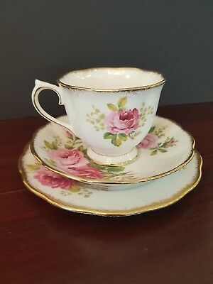 "Royal Albert Tea Cup Trio ""American Beauty"""