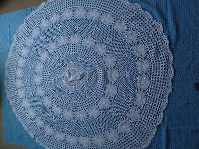 Vintage Cicular Hand Crochet White Tablecloth