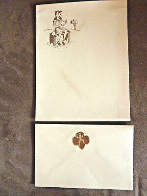 Vintage 1940's Girl Scout Brownie Stationary and Envelope