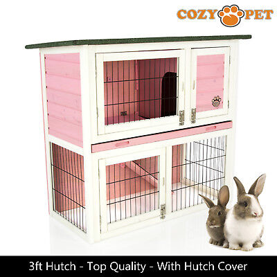 Rabbit Hutch 3ft by Cozy Pet in Pink with Cover Guinea Pig Hutches Run Ferret