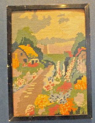 Vintage Woolwork Framed Tapestry Thatched cottage & garden 1920s/30s Picture