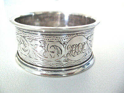 Ornate English sterling silver napkin ring made in 1922