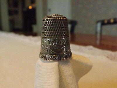 Antique Simons Brothers Sterling Silver Size 9 Scroll Pattern Sewing Thimble