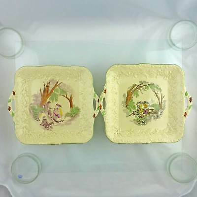 Two Vintage Masons Mason's 'Oak' Square Serving Dishes Hand Painted