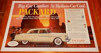 Gorgeous 1952 Packard Cars With Sunset Large Ad - Vintage American 50S Retro
