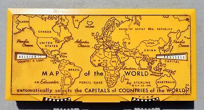 1961 MAP OF THE WORLD CAPITALS PENCIL CASE Sterling Co All Original Items Inside