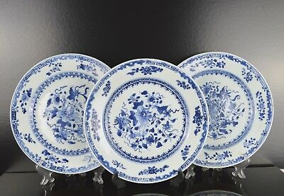 A Set Of Three Chinese 18Th Century Blue & White Plates