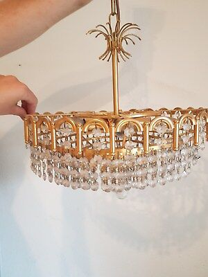 Vintage Glass Chandelier, Mid-Century, Brass