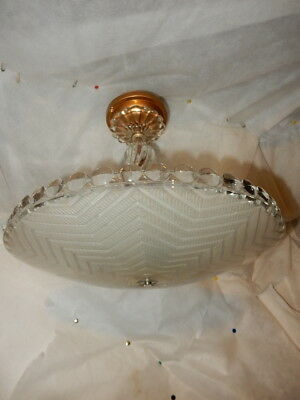 Antique frosted glass w/ art deco light fixture ceiling chandelier 1930s