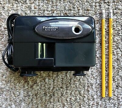 Vintage PANASONIC Electric Pencil Sharpener KP-310 Auto Stop Black w/ Pencils