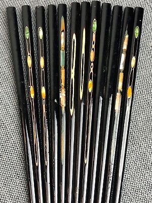 Vintage Lacquered Wood Chopsticks Inlaid Mother Of Pearl -Includes 12 -Beautiful