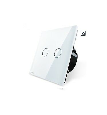 Livolo Light Touch Crystal Glass Panel 2 Way 2 Gang On/off Switch  Vl-C602S-12