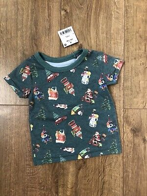 New NEXT Baby Boys Green Short Sleeved Christmas Top T-shirt Size 3-6 Months