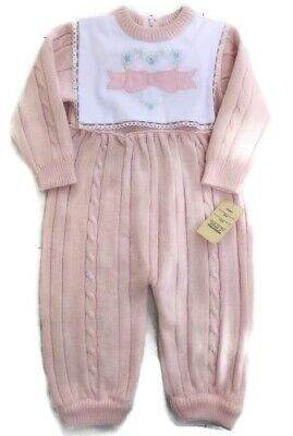 Vintage Baby Romper Jumper Pink Knitted Lace Appliqué Brand New Floral 6 9 Month